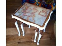 Unique nest of side tables with UK antique maps
