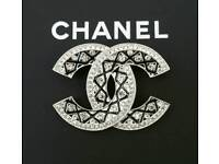 Absolutely Stunning! Large silver & Black Chanel Brooch Brand New & Boxed