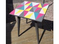 Hand Painted Unique Retro Geometric Table : : Solid Wood