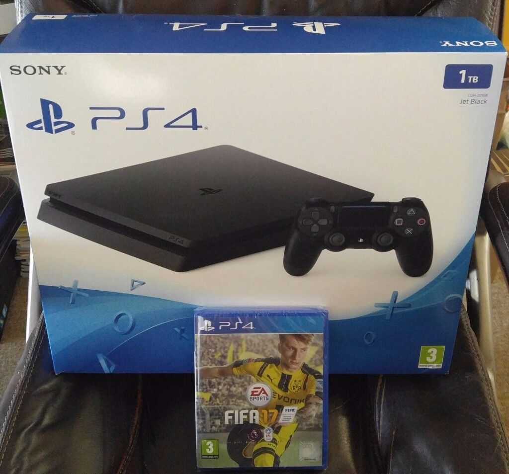 sony playstation 4 box. ps4 slim 1tb with fifa 17 - brand new in box playstation 4 bnib sony g