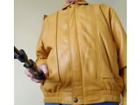 Men's Soft Leather Yellow Jacket with Satin Lining Outstanding Condition.
