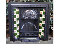 Vintage Wood surround & Victorian Edwardian Cast Iron Fireplace Fire Place with Art Nouveau tiles