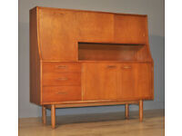 Attractive Large Retro 1970's Teak Tall Sideboard Cabinet With Cupboards Drawers