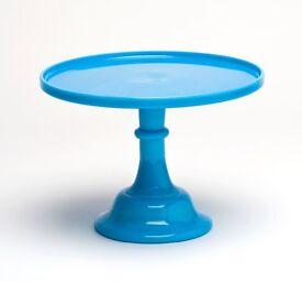 Blue 9 inch mosser milk glass cake stand