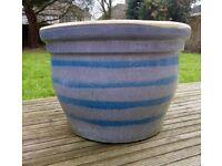 Large, glazed, garden pot