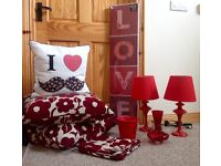Red Bedside Lamps, Wall Art, Cushions, Bud Vase & Plant Pot