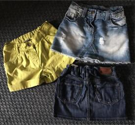 Next, H&M, TU denim skirt short trio 3-4 years