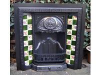 Victorian Edwardian Cast Iron Original Fireplace Fire Place Surround Art Nouveau original tiles