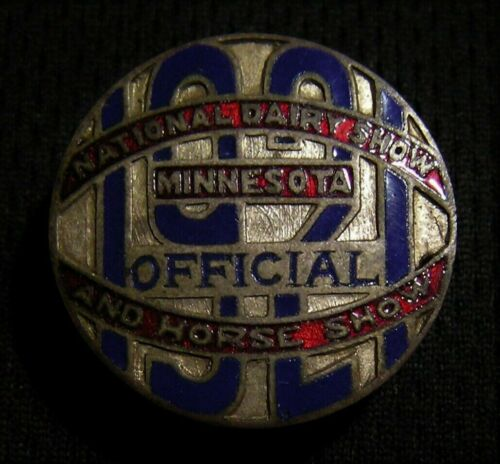 1921 MINNESOTA NATIONAL DAIRY AND HORSE SHOW OFFICIAL JUDGE BADGE PIN  Farm Milk