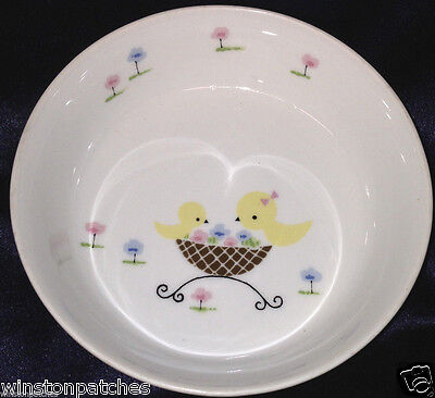 NORITAKE 2505 CHILD'S SET BOWL 14 OZ CHICKS BLUE & PINK FLOWERS BIRDS NEST