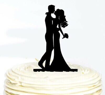 WEDDING CAKE TOPPER-BLACK ACRYLIC-SLEEK SILHOUETTE-BRIDE/GROOM-DECORATION-KISS