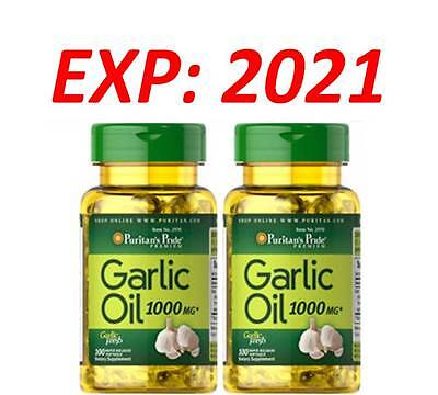 Garlic Oil 1000 Mg Cholesterol Health 100 X 2 200 Softgels Pills Very Fresh 2021