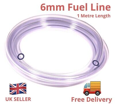 6mm I'd CLEAR PETROL OIL FUEL PIPE HOSE LINE. -*  1 Metre Length   *✅