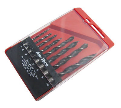 8 PIECE WOOD DRILL BIT SET  IN CASE PROFESSIONAL QUALITY WITH CARBON STEEL TIPS