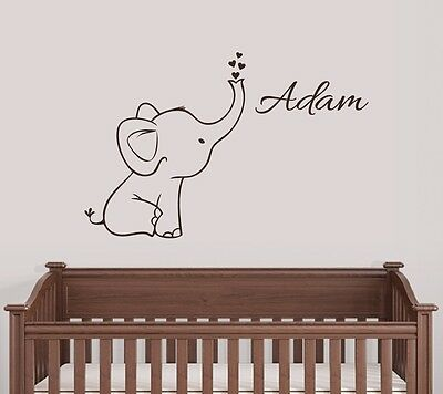 Personalized Elephant Wall Decal Nursery Decor](Elephant Nursery Decor)