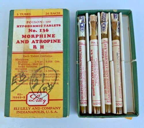 Vintage Eli Lilly Morphine Atropine Tablet Tubes Glass Vials Poison Pharmacy Rx