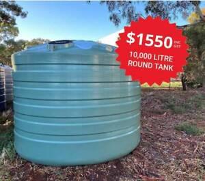 DINGO TANKS 10,000L TANK SALE! FREE DELIVERY, Poly Water Tanks, Rain
