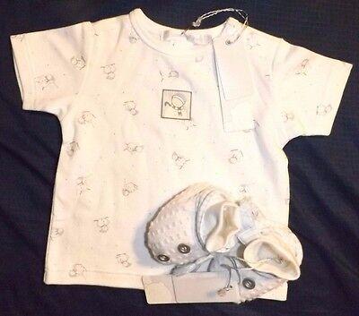 NWT Baby Boy Les Bebes du Paradis Snowman Shirt Booties 3 Months Small Boutique