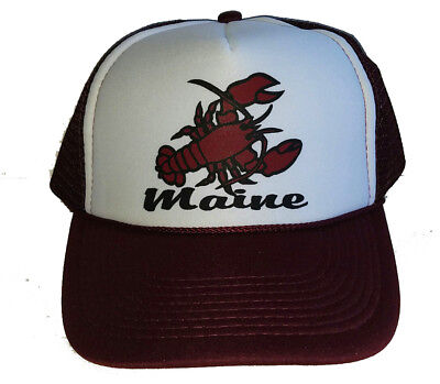 Maine Lobster Burgandy Snapback Mesh Trucker Hat Cap  (Lobster Hat)