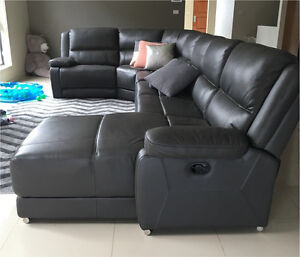 Large leather corner lounge with recliner and chase Franklin Gungahlin Area Preview