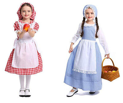 Girls Colonial Costume (Girls' Colonial Costume, Pioneer Dress,Pilgrim for Girls with)