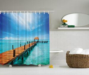 Details about tropical blue paradise pier beach fabric shower curtain