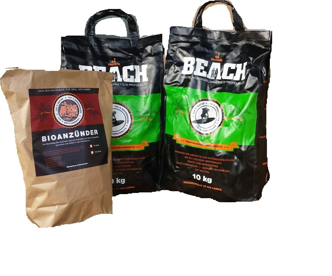 20 Kg Beach Kokos Briketts +50 natürl. Anzünder BlackSellig Holzkohle Grillkohle