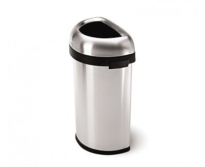simplehuman Semi-Round Open Can Stainless Steel, Brushed, 16