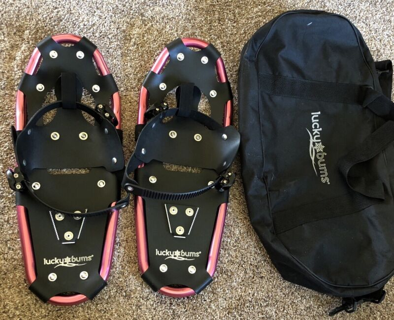 """LUCKY BUMS Kids Youth 22"""" X 8"""" Snowshoes & Bag, Never Used, Up To 150 Lbs."""