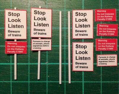 00 gauge railway safety signs kit, suitable for BR or Network Rail