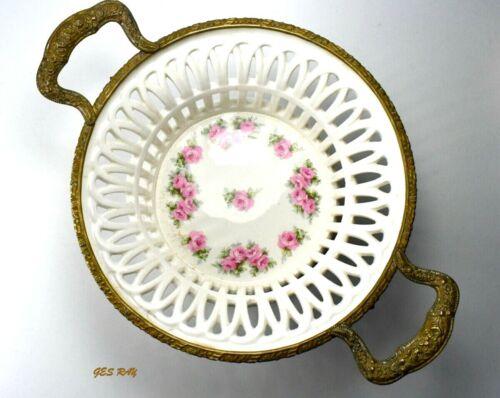Antique Porcelain Bowl Gilt Bronze Mount Filigree Sevres Bronze Mounted *