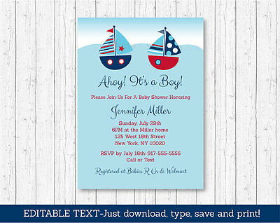 Sailboat Ahoy its a Boy Printable Baby Shower Invitation Editable PDF