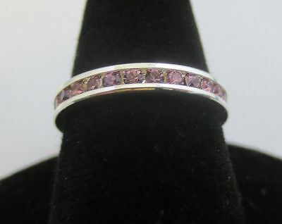 SIZE 6 STERLING SILVER PLATED ETERNITY JUNE LT AMETHYST STACKABLE 3MM RING