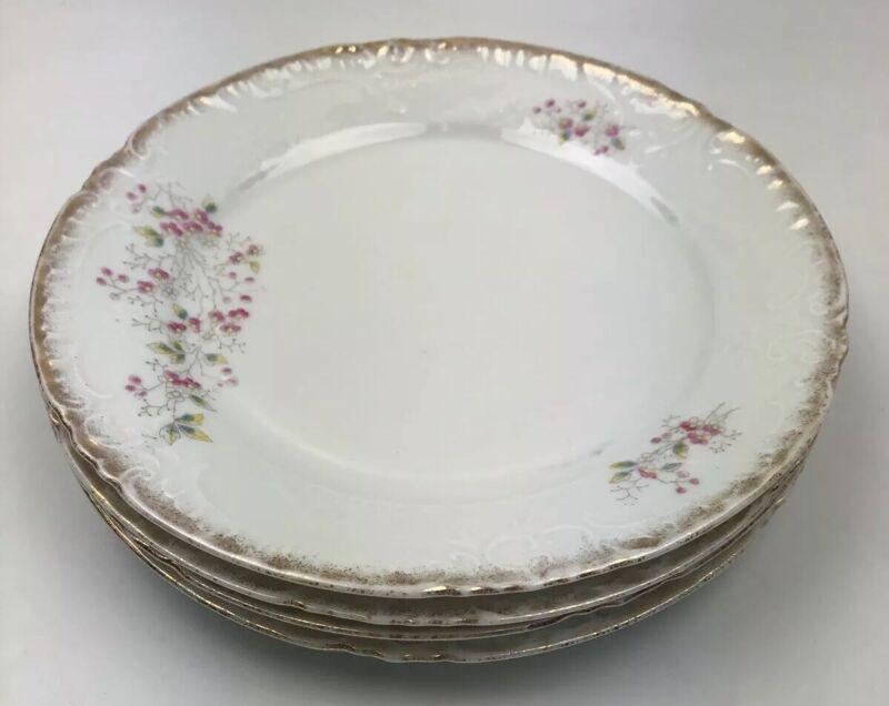"Vtg. Victoria Hand Painted 9.5"" Dinner Plates- Floral-Carlsbad Austria-Gold Trim"
