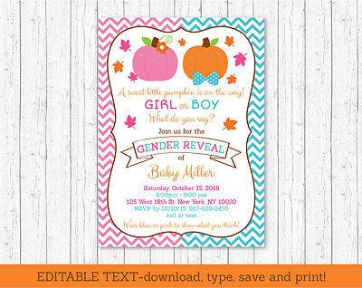 Pumpkin Gender Reveal Pink & Blue Printable Baby Shower Invitation Editable PDF](Pumpkin Baby Shower Invitations)