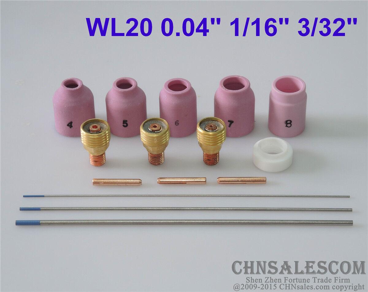 "18 pcs TIG Torch Large Gas Lens WP-9//20//25 WL20 Tungsten 0.04/"" 1//16/"" 3//32/"""