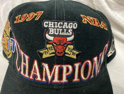 Vintage 1997 Chicago Bulls NBA Champions Black NBA Logo Athletic Snapback Hat