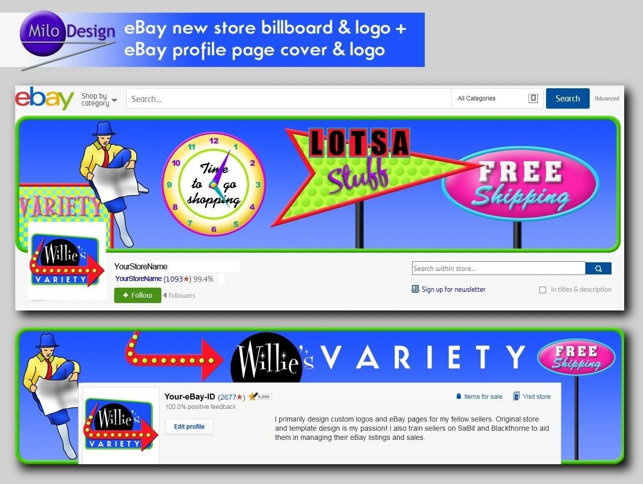 Original Custom Ebay New Store Billboard Profile Cover Logo Designed For You Ebay