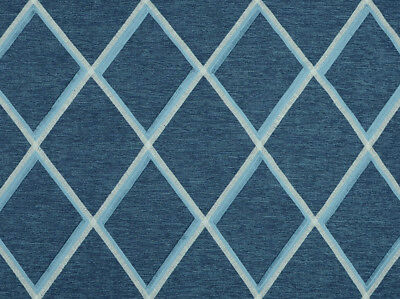5Y MARKHAM DENIM BLUE EMBROIDERED DIAMOND DESIGN LINEN UPHOLSTERY DRAPERY FABRIC
