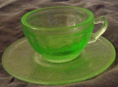 Antique Anchor Hocking Cameo Scroll Handle Cup & Saucer - VGC - BEAUTIFUL GREEN