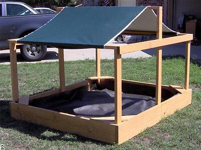NEW HUGE 6X7 FOOT WOODEN CHILDREN'S SANDBOX WITH COVER & CANOPY WOOD SAND BOX