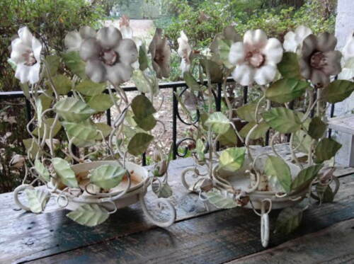 Vintage PAIR TOLEWARE CANDLE HOLDER STANDS PINK FLOWER&BUDS Shabby Chic Garden
