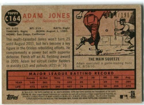ADAM JONES 2012 Topps Heritage Chrome C164 /1962 - $2.99
