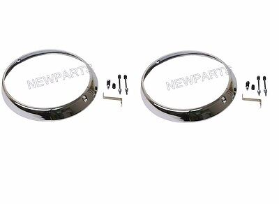 For Porsche 911 70-73 Headlight Rim L+R x2 Chrome H4 headlamp ring trim (Porsche Headlight Rim)