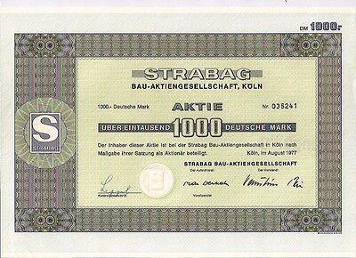 Strabag Bau Aktiengesellschaft Köln historische DM Aktie 1977 mit Kupons Werhahn