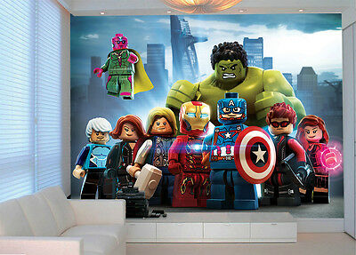 Lego superheroes wall mural lego avengers superheroes photo wallpaper decoration kids room art 75 voltagebd Gallery