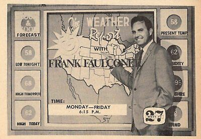 1967 Wkyt Tv News Ad Frank Faulconer Weather In Lexington Kentucky Channel 27