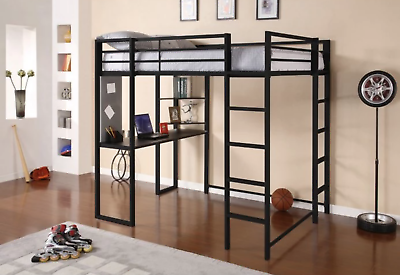 Details about Student Loft Bed Frame with Desk For Kids Teens Adults Black  Full Size Bunk Beds