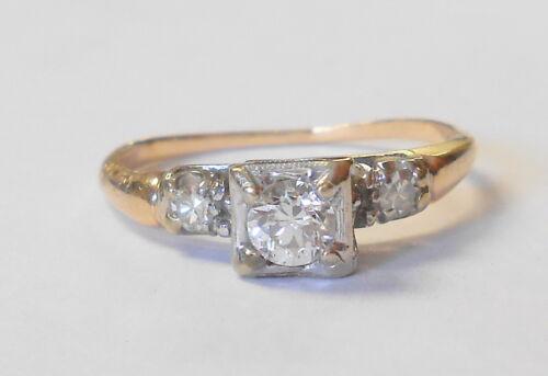 Vintage VS1 Triple Diamond 14K Yellow Gold Engagement Ring Size 6.25