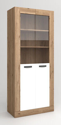 Vitrina salon comedor 2 puertas cristal color naturale y blanco mate 191x80x40cm